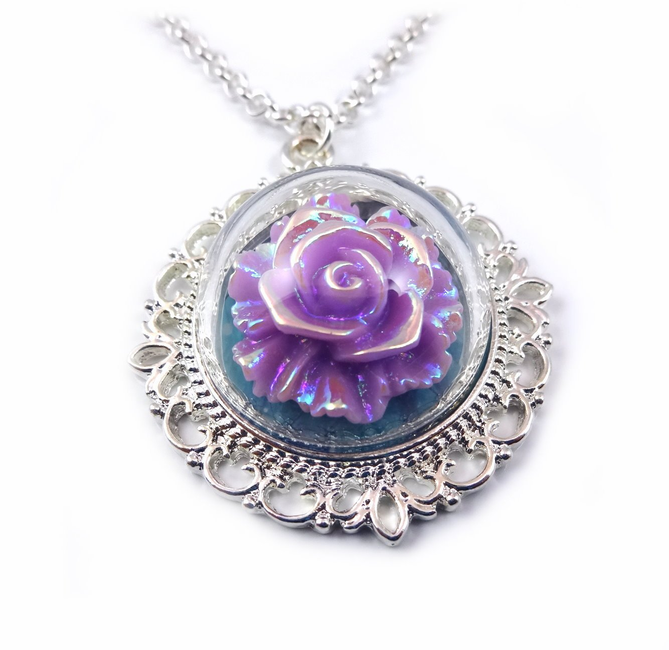 Beauty and the Beast Enchanted Purple Lavender Rose Necklace 20 in Fairy Tale Wedding by Little Gem Girl