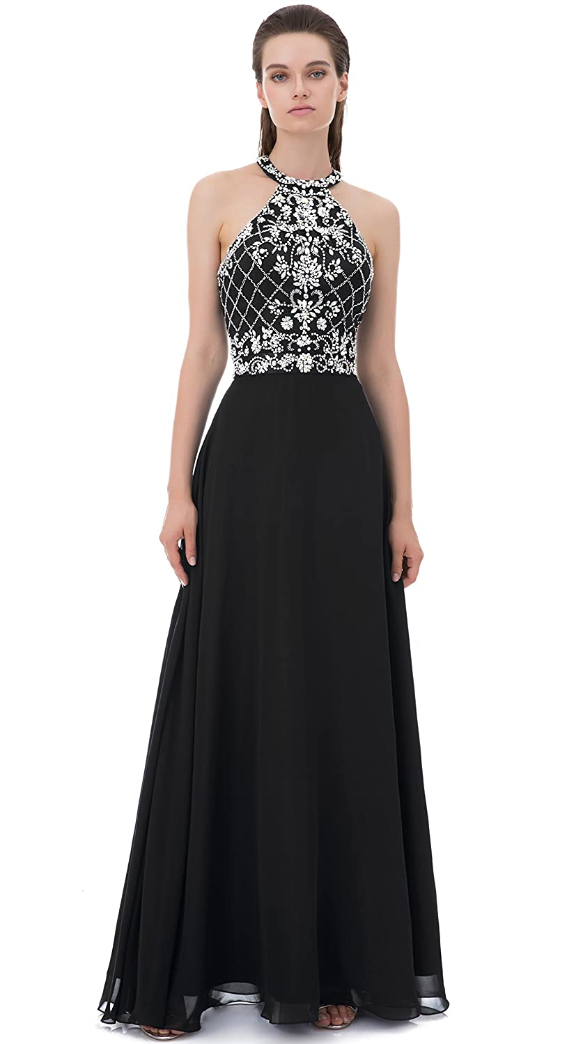 4c00d163a858 WDING Long Prom Dresses Halter Backless Heavy Beaded Rhinestone Evening  Dresses at Amazon Women's Clothing store: