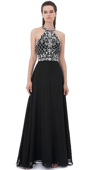 Wding Long Prom Dresses Halter Backless Heavy Beaded Rhinestone