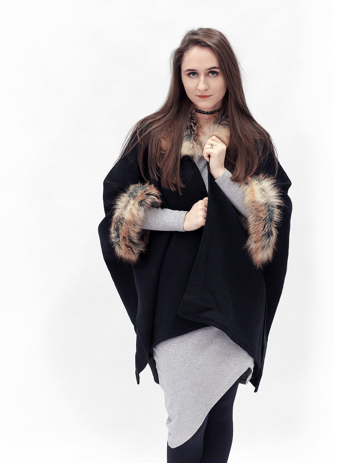 Elegant black and brown half-woolen cardigan with high quality faux fur - made by Irena Fashion
