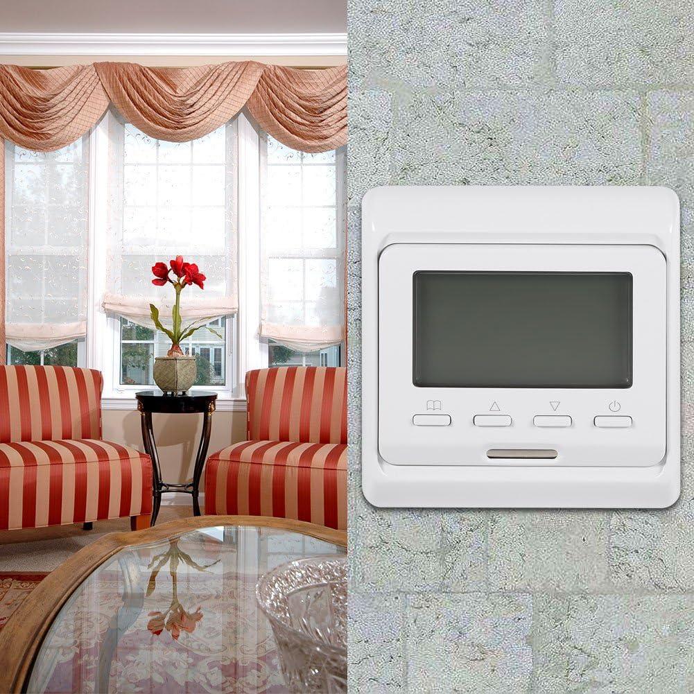 Huairdum Thermostat Commutateur De Contr/ôle De La Temp/érature Affichage Num/érique LCD Hebdomadaire /Électronique Programmable Programmable Thermostat De Chauffage Thermostat Contr/ôleur AC 230V
