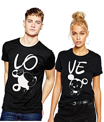 Young Trendz Mikky Printed Bio-wash Couple Tshirt Set Women's T-Shirts at amazon
