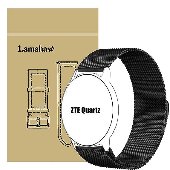 ZTE Quartz Smartwatch Band, Lamshaw Milanese Magnetic Loop Stainless Steel Watch Strap for ZTE Quartz Smartwatch (Black)
