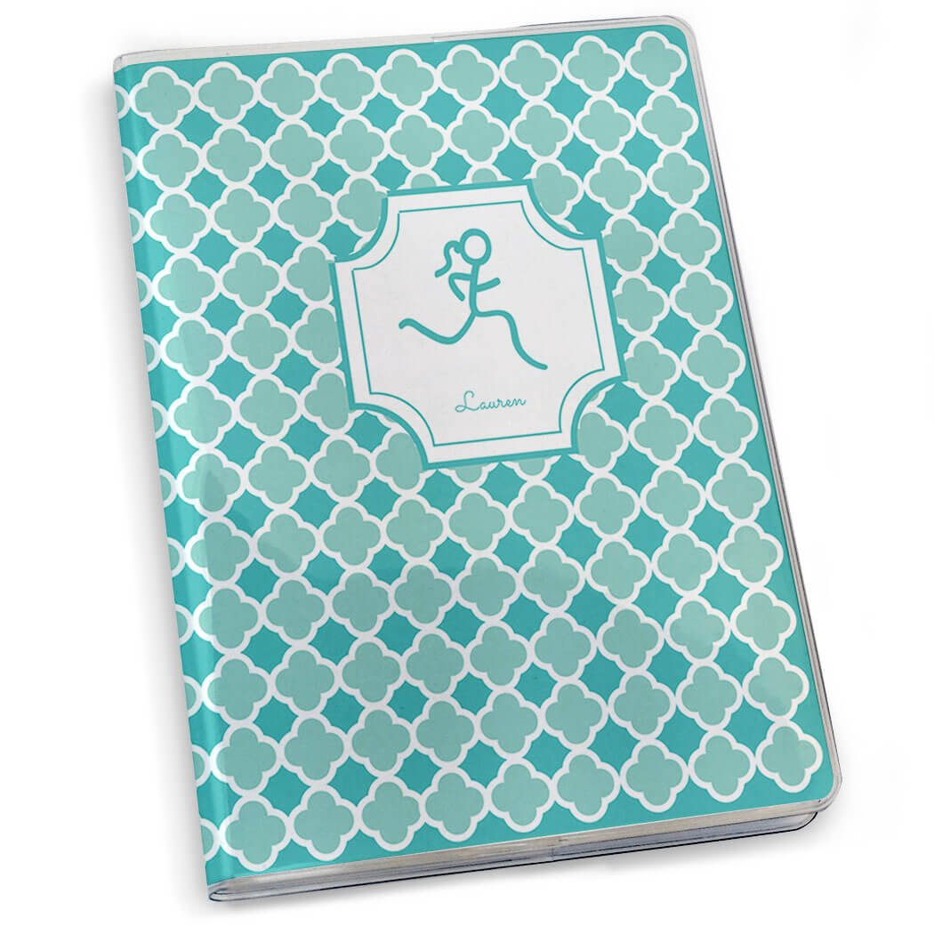 Gone For a Run Runner Girl Stick Figure with Quatrefoil Running Journal | Paper Journal Teal by Gone For a Run