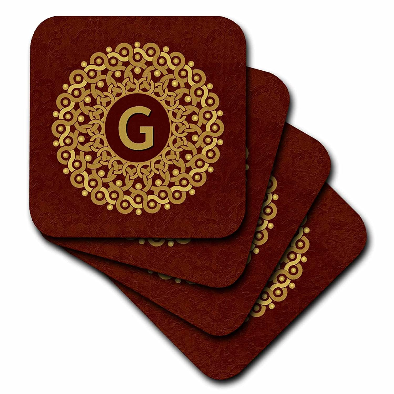 Set of 8 3dRose cst/_32211/_2 Monogram G Tan and Coffee Mandala on Warm Chocolate Muted Grunge Damask-Soft Coasters