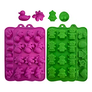 Silicone Candy Molds, Chocolate Molds: BPA Free Baking Molds for Chocolate, Shaping Hard or Gummy Candies, Keto Fat Bombs, Jello, Ice Cubes- Animals, Dinosaur, Robots, Ducks, Cute Shapes Molds, 4 Pack
