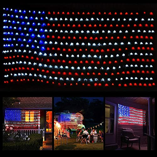 American Flag LED Lights with 390 Super Bright String Lamps, 6.6 x 3.3 ft Waterproof USA Flag Net Lights, Outdoor Lighted Hanging Ornaments for Festival, Party, Independence Day Patriotic Decorations