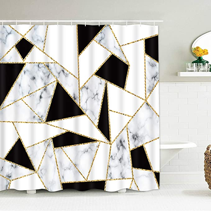Smurfs Yingda Marble Shower Curtains Black And White Abstract Geometric Durable Waterproof Shower Curtain Set For Bathroom With 12 Hooks Home Kitchen Amazon Com