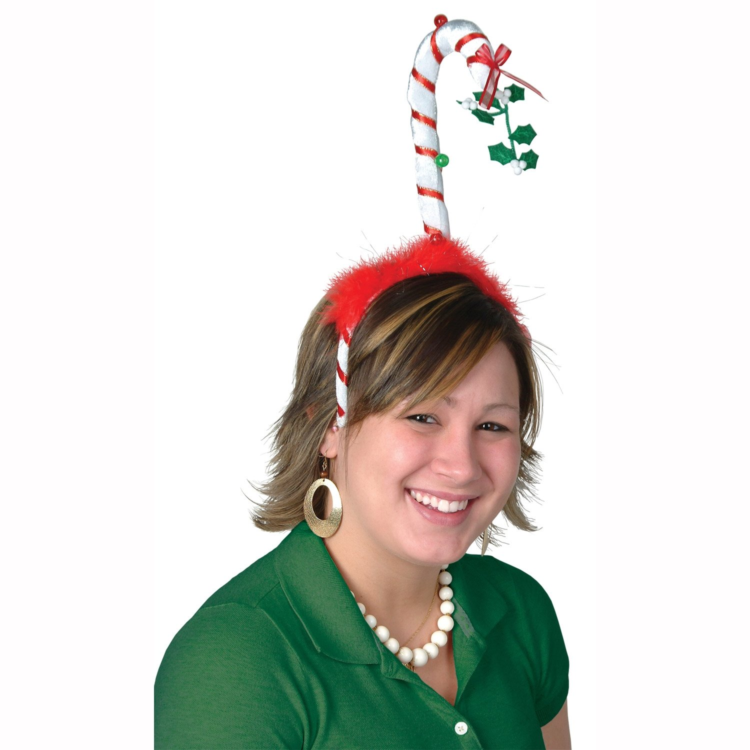 Beistle 1-Pack Mistletoe Candy Cane Boppers Party Hat