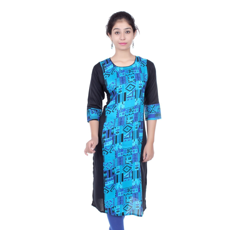 Chichi Indian Women Kurta Kurti 3/4 Sleeve Large Size Geometric Print Straight Black-Blue Top