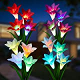 Outdoor Solar Flower Lights - 4 Pack Solar Garden Lights Color Changing with16 Larger Lily Flowers, Waterpoof Solar Garden St
