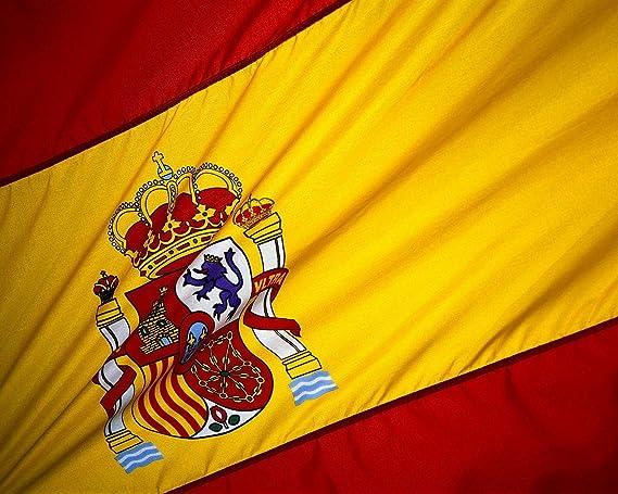 KiipFlag Bandera España Grande Bandera de España, Color Vivo y Resistente a la Decoloración UV, Cabecera de Lona y Doble Costura, Poliéster con Ojales de latón, 150 X 90 cm: Amazon.es: Jardín