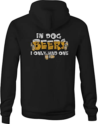 Zip Up Hoodie Dog Beer Funny Hooded Sweatshirt for Men