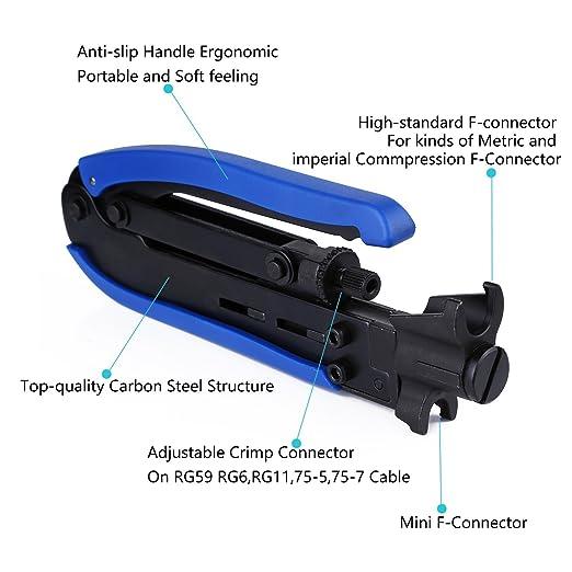 Crimpadora de compresión para cable RG59, RG6 y RG11 con conector F: Amazon.es: Bricolaje y herramientas