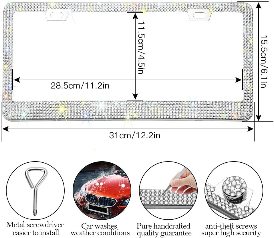 Otostar Bling Crystal Car License Plate Frame 6 Rows Handmade Finest 14 Facets SS20 Diamond Stainless Steel 2 Holes License Plate Holder Cover Silver
