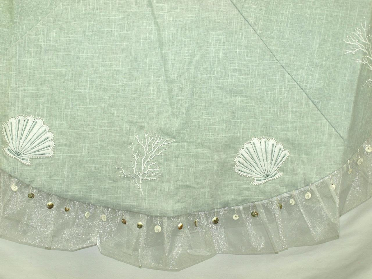Season's Designs Seashell Themed Tree Skirt, Sea Green Linen Fabric, 56'' Wide