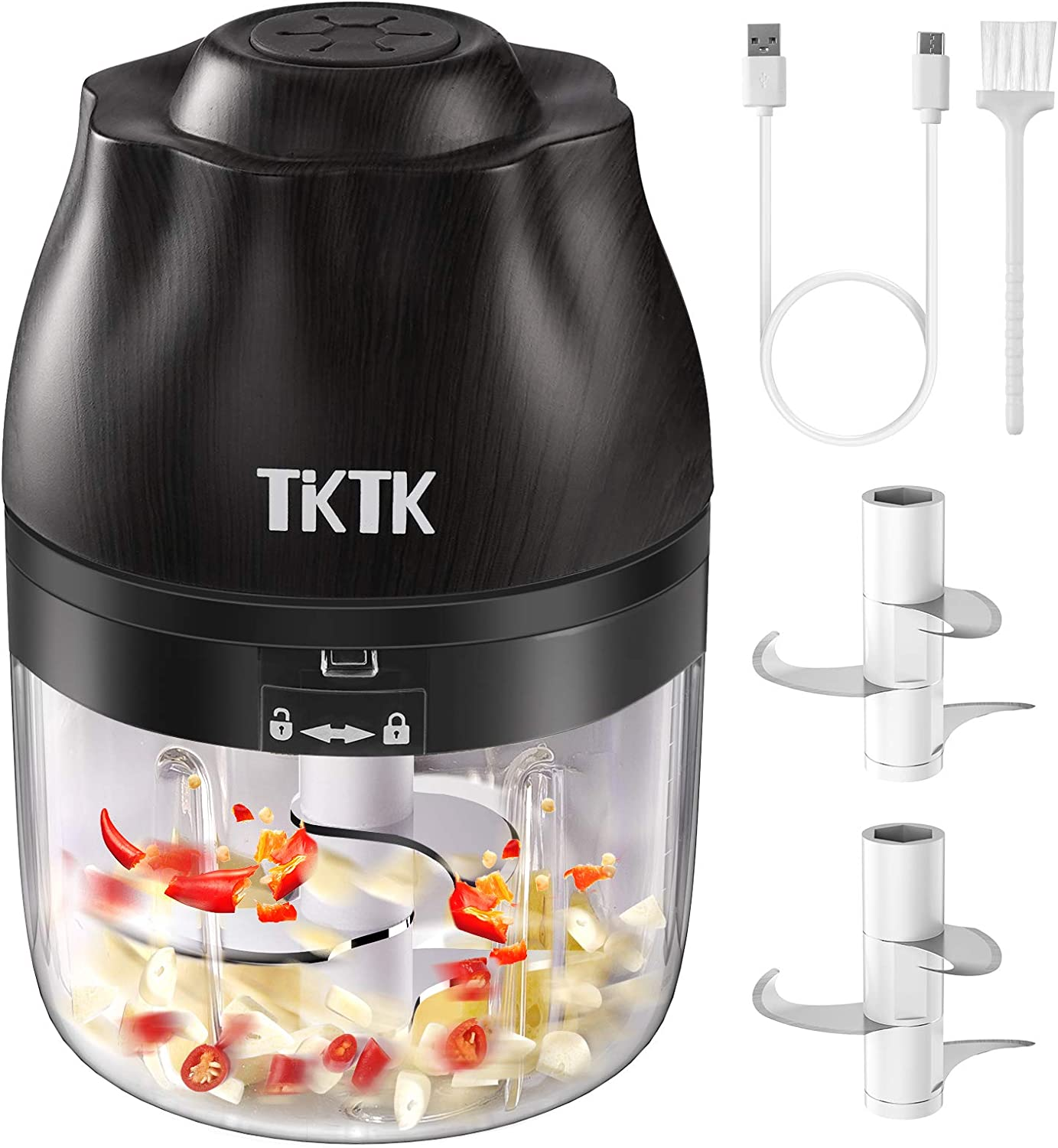 Electric Food Chopper, TKTK Onion Chopper Mini Food Processor Portable Garlic Chopper USB Charge Meat Slicer Cordless Food Mincer, for Chop Onion Ginger Vegetable Pepper Spice Meat Baby Food (250ML)