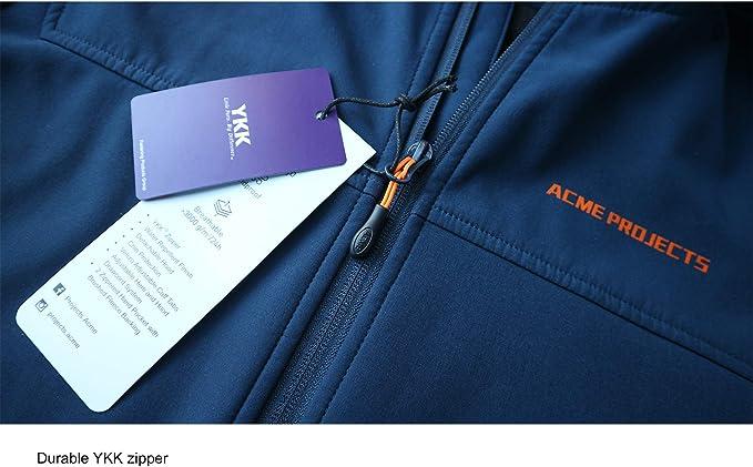 8000mm//5000gm Breathable YKK Zipper Acme Projects Mens Fleece Lined Softshell Jacket with Detachable Hood Waterproof