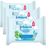Johnson's Pure Protect Kids Wipes, 25 Wipes (Pack of 3)
