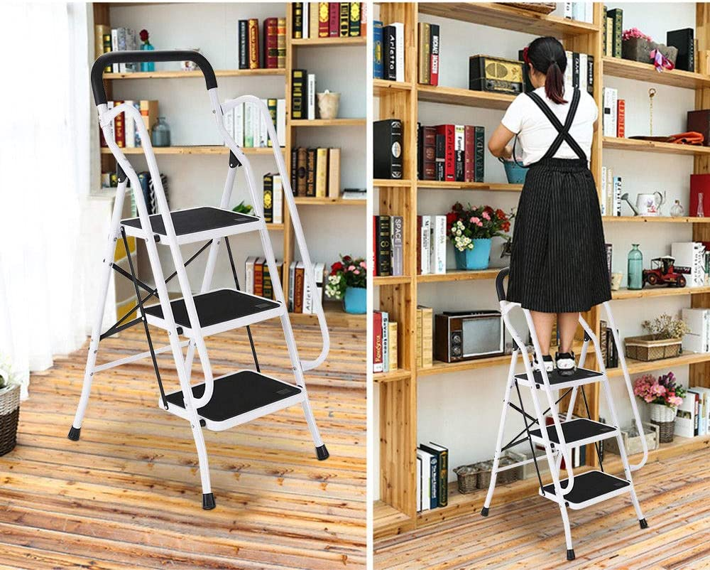 Warehouse Foldable 3 Step Tread Ladder Stepladder Portable Folding Non Slip Mat Metal Steel Heavy Duty with Safety Handrail Non Slip Rubber Feet Supermarket Perfect for Home Office