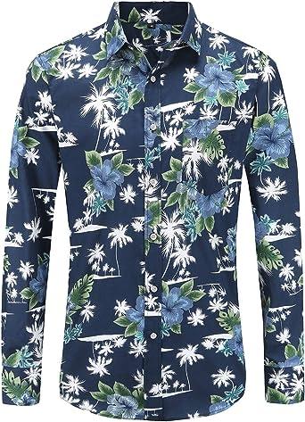 Jandukar Camisa de vestir floral para hombre de manga larga para fiesta