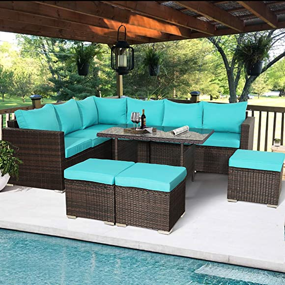 Outime 7 PCS Patio Furniture Outdoor Sectional Sofa All Weather PE Brown Rattan Wicker Conversation Set