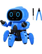 YEESON DIY Assembly Smart Robot Toys, 6-Legged Walking Robot with Gesture Sensing, Infrared Following & Obstacle Avoidance Mode for Boys, Girls, Kids, Children