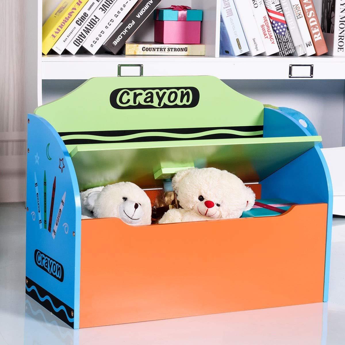 Mandycng Kid Room Toy Open Box Storage Bench Crayon Theme, Kindergarten School Children Toy Game Organizer Box Cabinet, Multi-Color Student Toy Storage Organizer