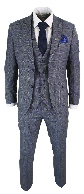 Paul Andrew Costume 3 pièces homme coupe ajustée carreaux Prince de Galles  tweed bleu gris vintage rétro 4b49d8dc2e7
