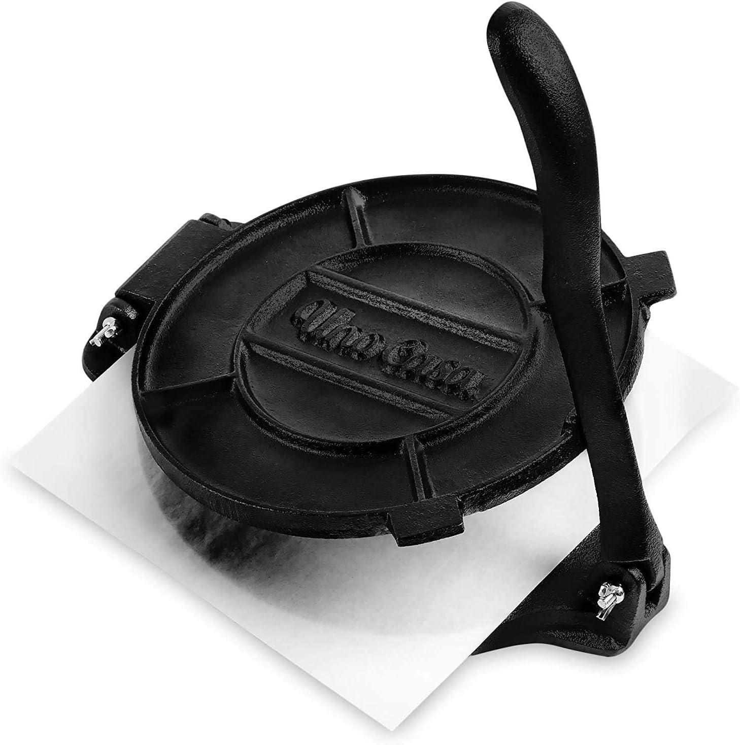 25 Uno Casa Tortilla Presse, Gusseisen, 10,10 cm, Roti und Tortilla Maker –  Bonus 10 Stück Pergamentpapier