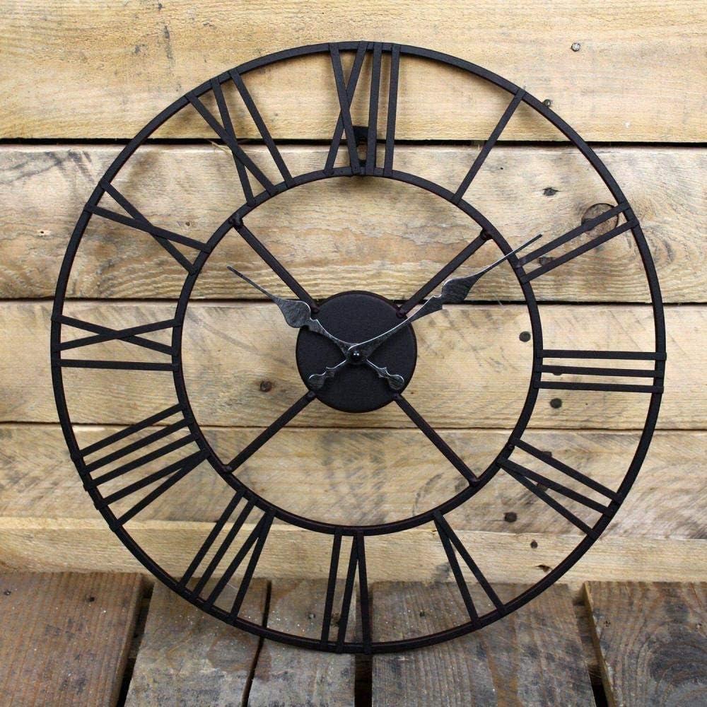 XUYI Grands Chiffres Romains G/ÉANT Face Ouverte M/ÉTAL Grande Horloge Murale DE Jardin EXT/ÉRIEUR Nouveau 40 CM 40 CM