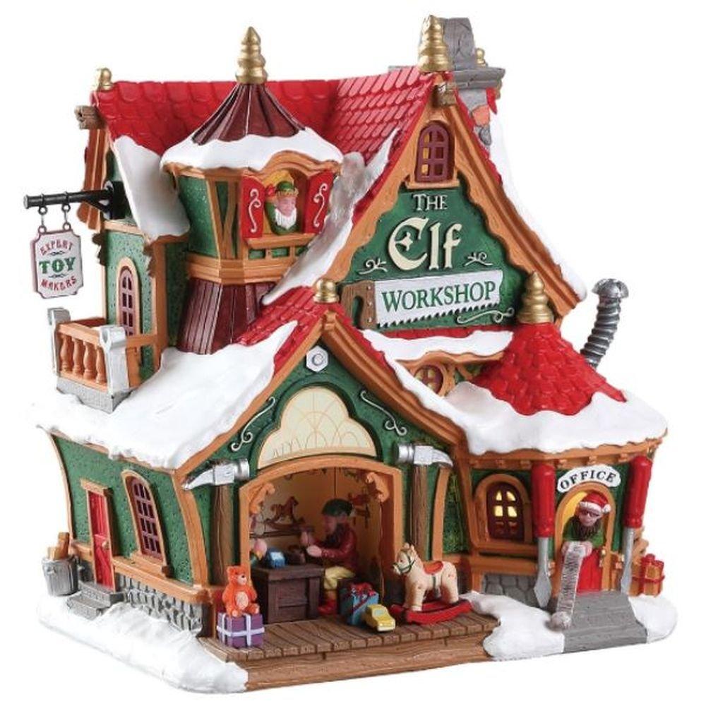 Lemax 75291 – The Elf Workshop – Werkstatt der Elfes – Neuf 2018 – Santas Wonderland – Maison éclairée avec Animation/Maison de Noël – Décoration de Noël – Sapin de Noël/Village de Noël