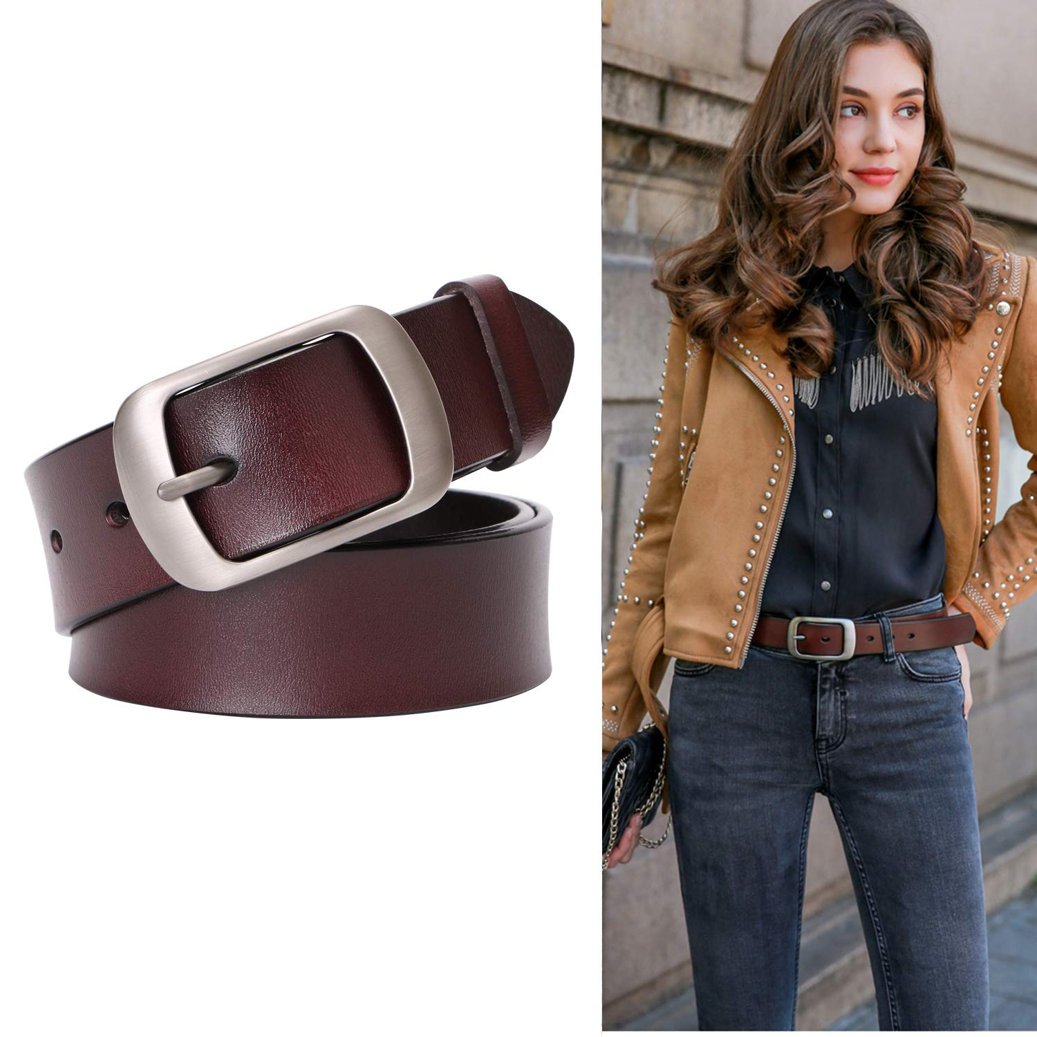 Genuine Leather Belts For Women Vintage Retro Jeans Belt With Pin Buckle Ladies Bull Leather Waist Belt For Jeans Pants Dresses