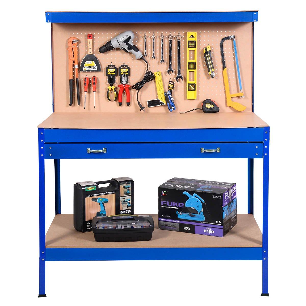 Astounding Costway Garage Work Bench Tool Box Storage Pegboard Shelf Workshop Station Steel Blue Squirreltailoven Fun Painted Chair Ideas Images Squirreltailovenorg