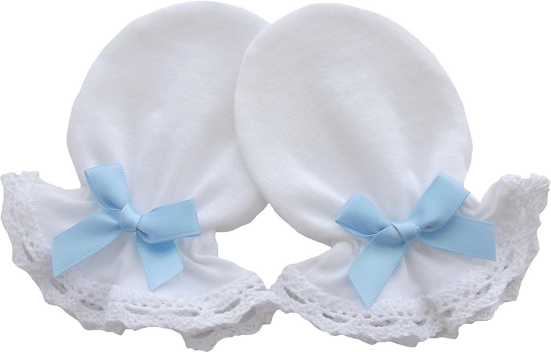 100/% Cotton Jersey Newborn Baby Handmade Anti Scratch Mittens Christening Cotton Lace Color White