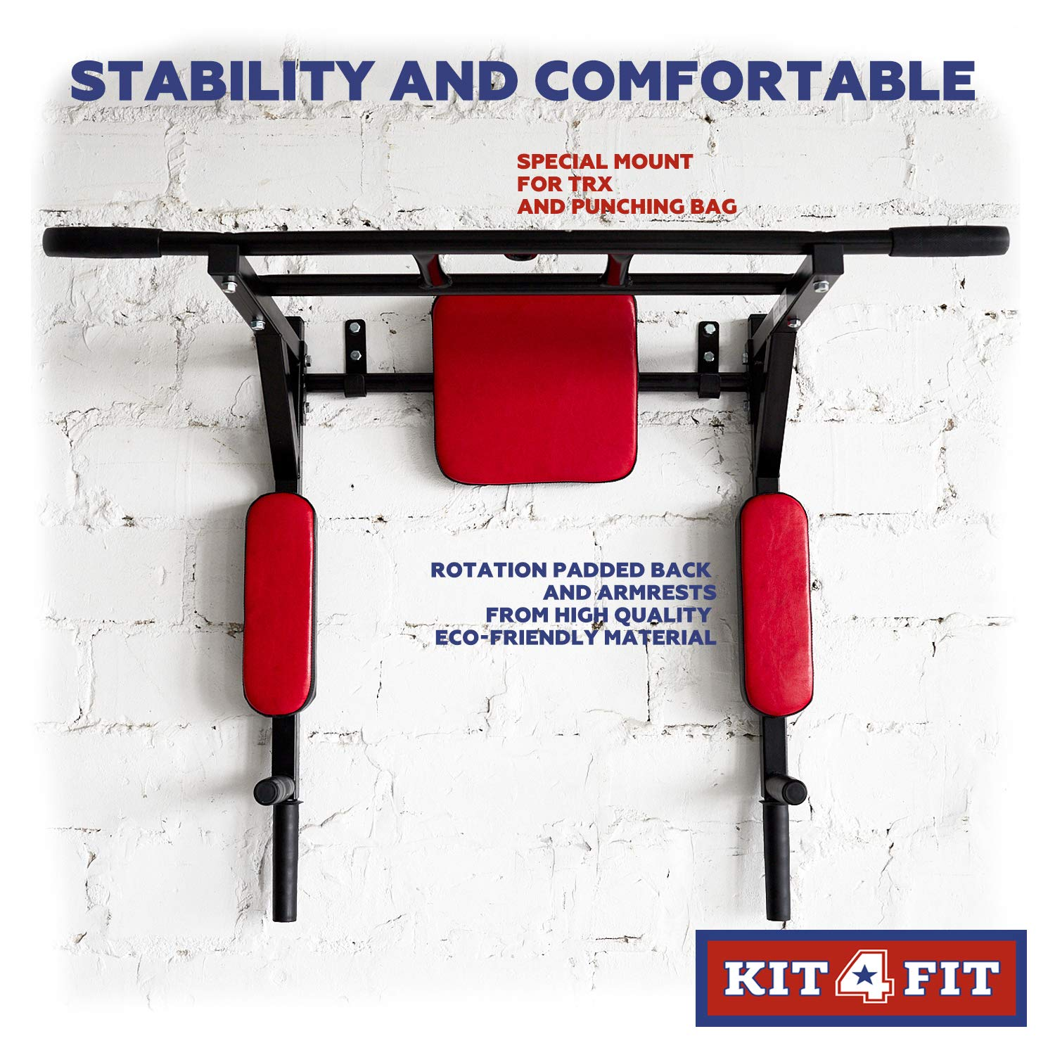 Wall Mounted Pull Up Bar and Dip Station with Vertical Knee Raise Station Indoor Home Exercise Equipment for Men Woman and Kids Great for Workout and Fitness (Red) by Kit4Fit (Image #4)