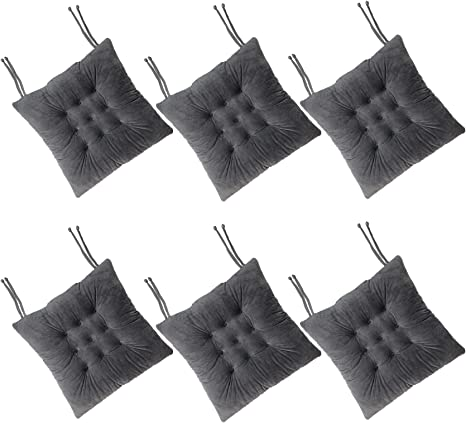 Amazon Com Cosyroom Set Of 6 Chair Pads And Seat Cushions With Ties Non Slip Comfortable And Soft For Indoor Dining Living Room Kitchen Office Chair Den Travel Washable Dark Gray 6 Kitchen