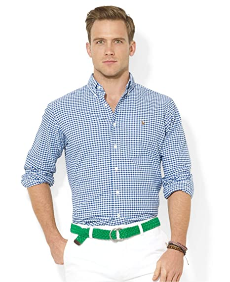 eb78823c1 Polo Ralph Lauren Men's Slim Fit Stretch Oxford Check Shirt Blue/White:  Amazon.in: Clothing & Accessories