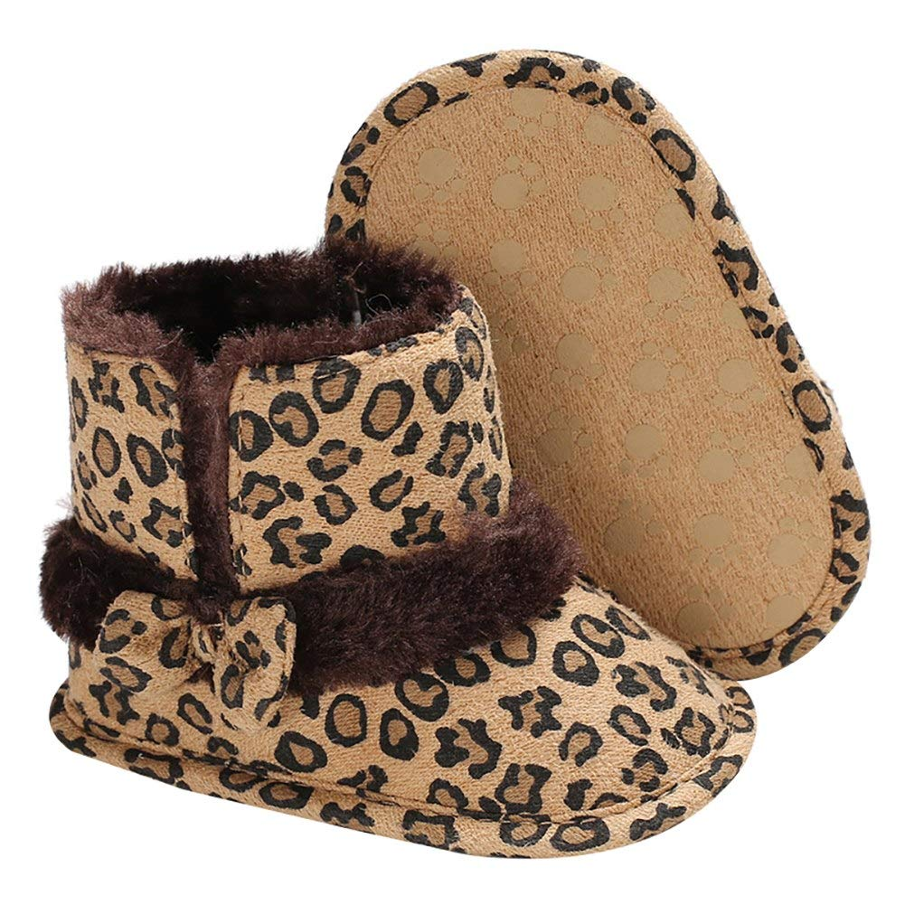 Baby Premium Soft Sole Leopard Anti-Slip Mid Calf Warm Winter Infant Prewalker Toddler Snow Boots