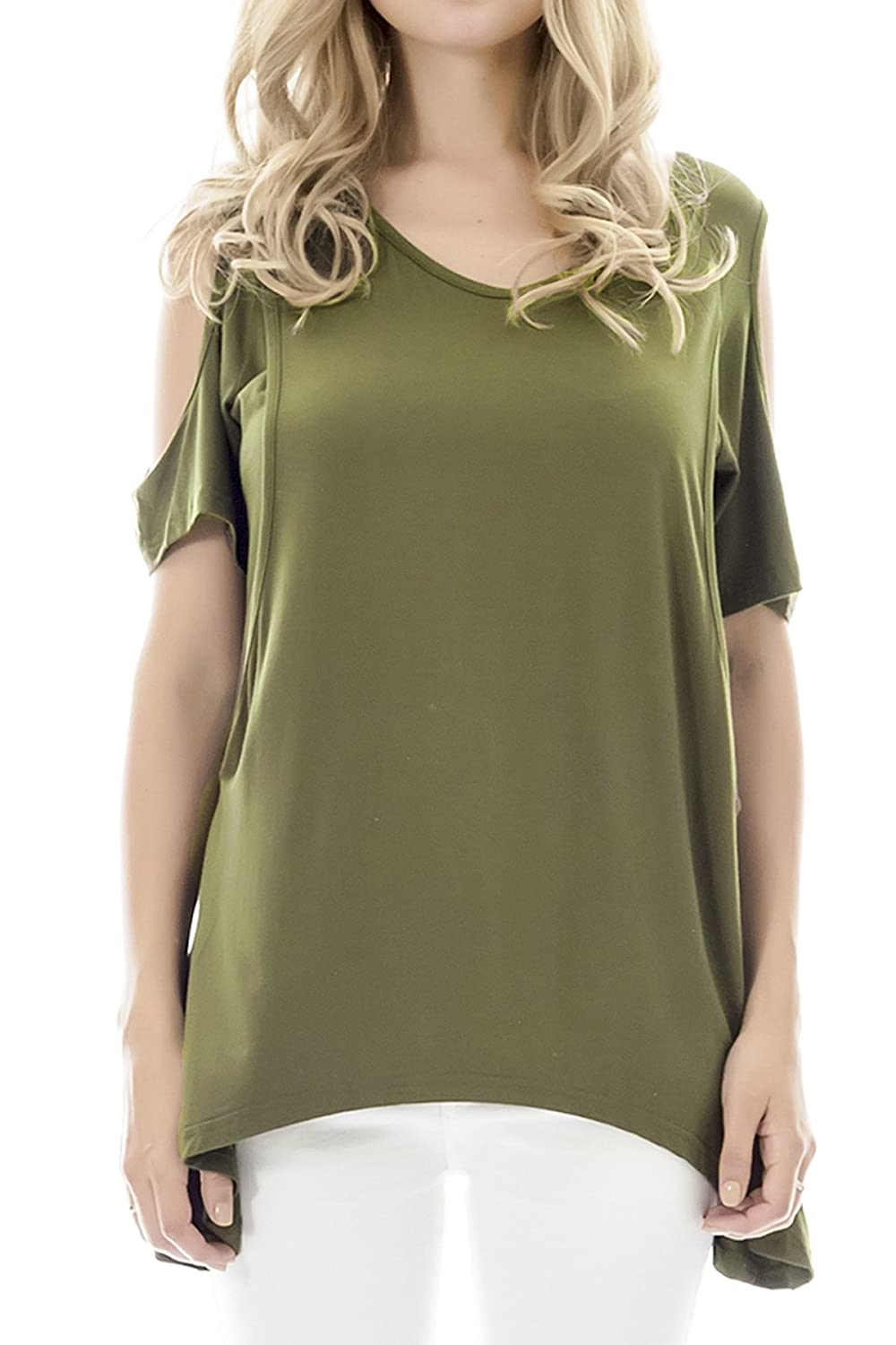 Smallshow Women's Nursing Tops Summer Cold Shoulder Breastfeeding Shirt