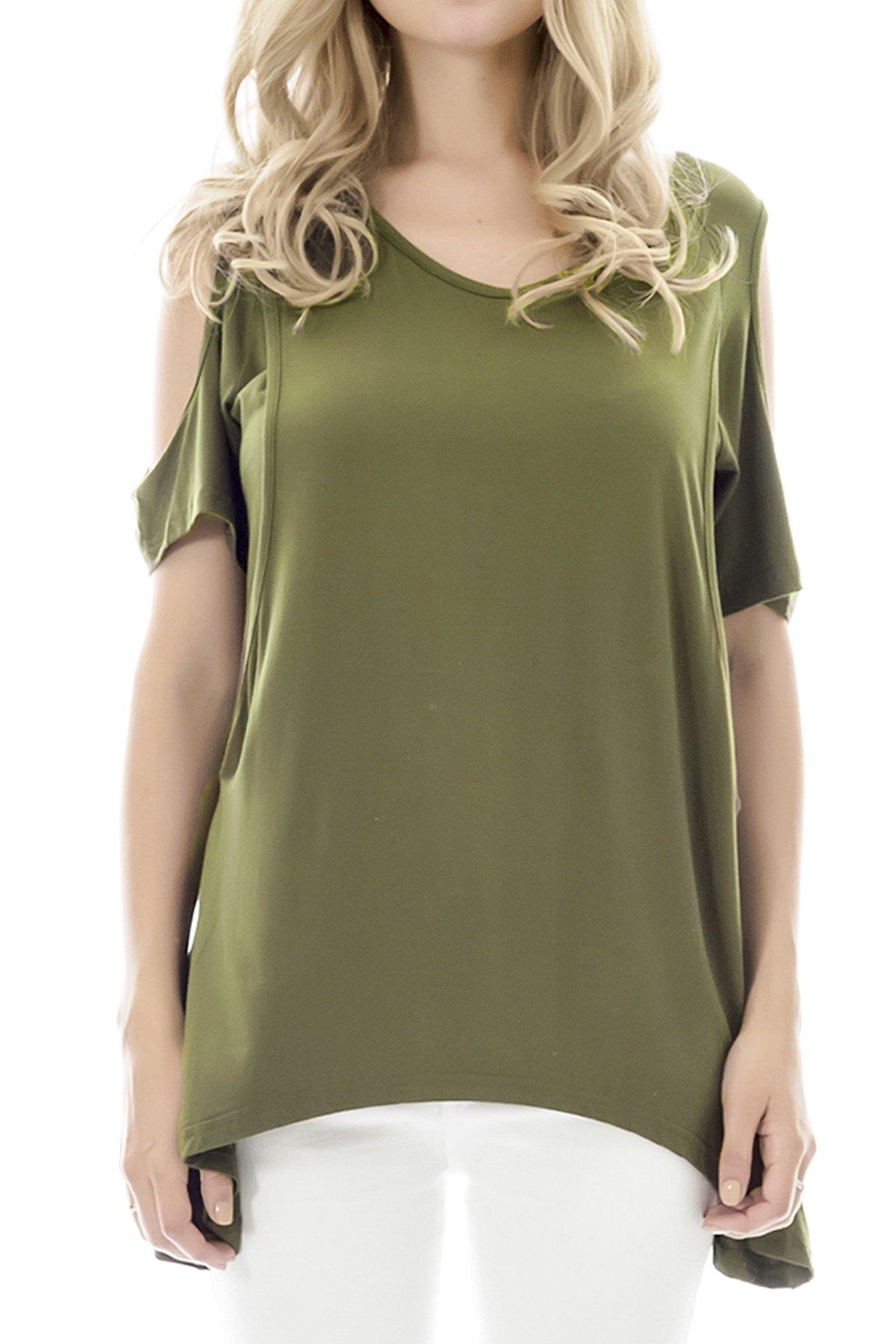 Smallshow Women's Nursing Breastfeeding Tops Cold Shoulder Medium Army Green