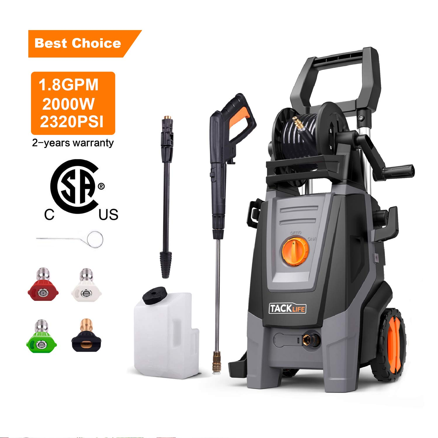 TACKLIFE Pressure Washer, 1.8 GPM 2000W 2320 PSI Full Copper Motor High Efficiency Electric Power Washer, Pressurized Hose Reel, Detergent Tank and Rotating Nozzle Gun, Car Washing Machine