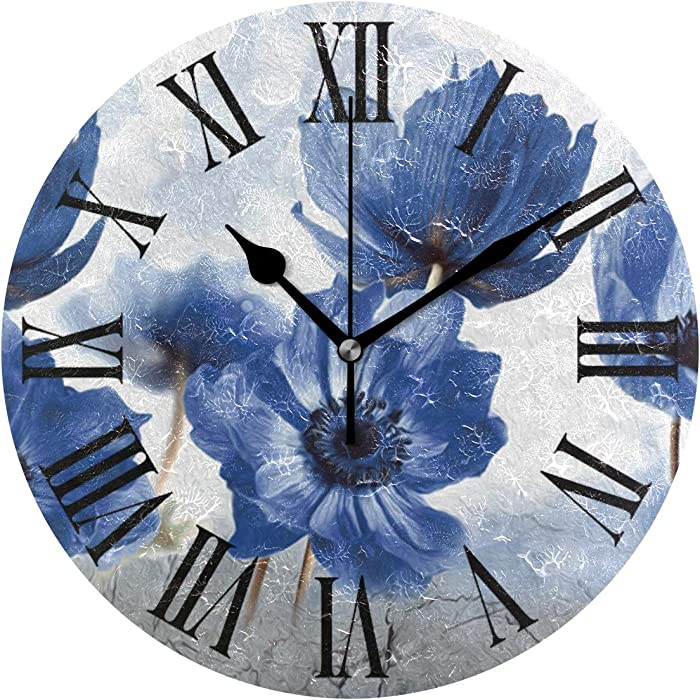 Tarity Blue Flowers Wall Clocks Battery Operated Silent Non Ticking Modern Round Wall Clock Decor for Bedrooms Kitchen Living Room Classroom Office Farmhouse