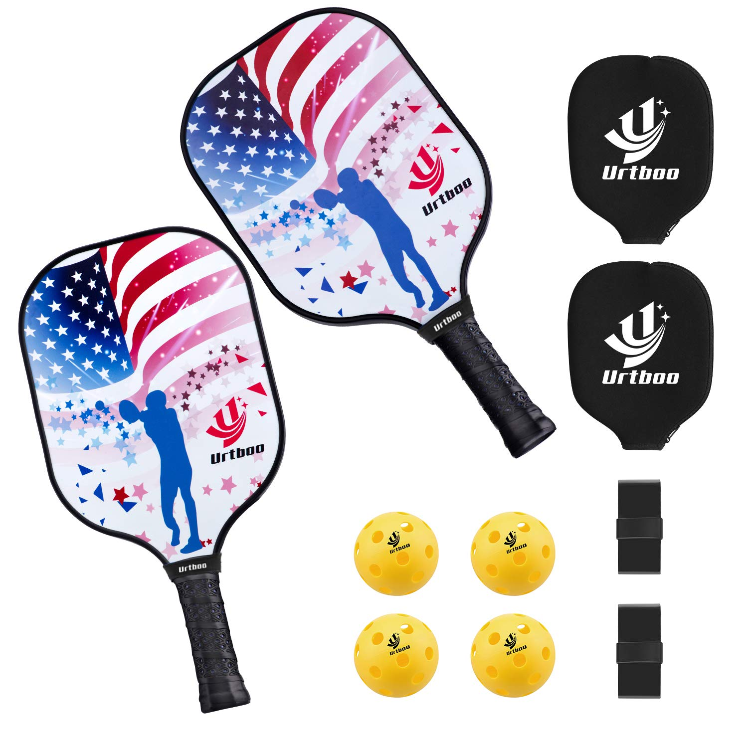 Urtboo Pickleball Paddle Rackets, Graphite Pickleball Sets Graphite Face Honeycomb Composite Core Low Edge Guard Premium Grip Light Weight 7.8 OZ,Pickleball Racket Good Choice for Beginner&Pro by Urtboo
