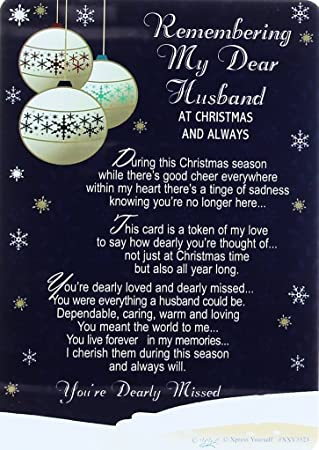loving memory christmas graveside memorial card my dear husband 6 - What To Buy My Husband For Christmas