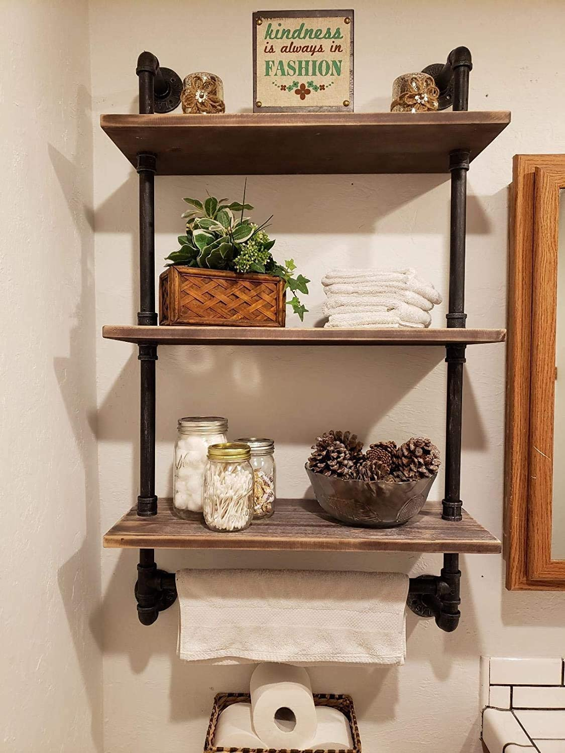 "Industrial Pipe Bathroom Shelf Rustic Wall Shelves with Towel Bar,24"" Towel Racks for Bathroom,Framhouse Floating Shelving Unit Storage (3 tier-24)"