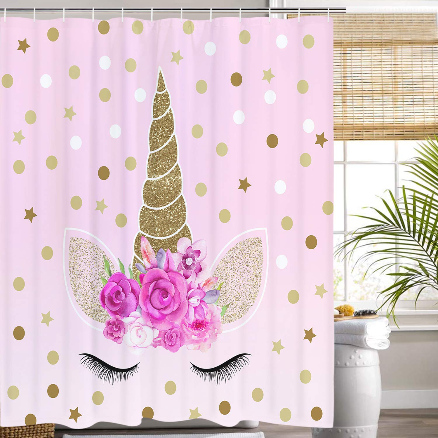 Romeooera Unicorn Shower Curtains Cute Pink Floral Magic Head Twinkle Star Curtain Mildewproof Waterproof With Hooks For