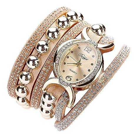 Rhinestone Bracelet Watch, Reloj de Moda de Lujo a la Venta Liquidación Relojes para Mujer Relojes de Pulsera para Mujeres (Beige): Amazon.es: Relojes