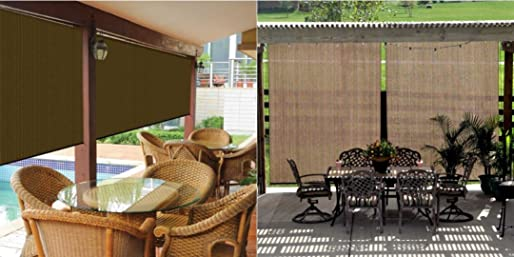 Coolaroo Outdoor Cordless Roller Shade 8ft by 6ft, Mocha
