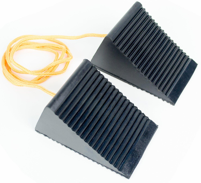 BUNKERWALL Pack of 2 (One Pair) Wheel Chock Blocks On 4 Foot Rope - Small - Heavy Duty Black Rubber 5'' x 3'' x 2.5''